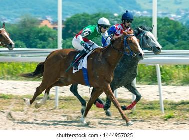 "PYATIGORSK, RUSSIA - JULY 07,2019: Horse race of the traditional big prize ""Ogranichitelni"" on Pyatigorsk hippodrome,Northern Caucasus,Russia."