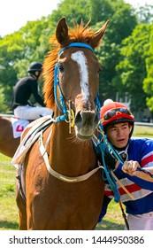 "PYATIGORSK, RUSSIA - JULY 07,2019: The winners horse race of the traditional prize ""Ogranichitelni"" - master jockey Kalysbek uulu Bolot and purebred red mare Mubariya on Pyatigorsk hippodrome."