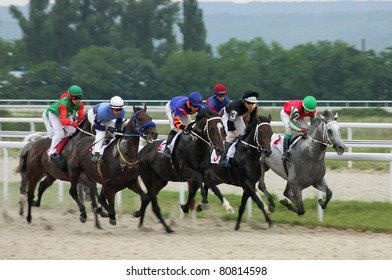"""PYATIGORSK, RUSSIA - JULY 10: Unidentified riders at the start of a race for the prize of """"Jockeys-kluba"""" on July 10, 2011, in Pyatigorsk, Caucasus, Russia."""