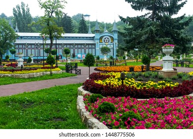 """PYATIGORSK, RUSSIA - JULY 12,2019: Park """"Flower-garden"""" - one of the most beautiful and favorite places of the resort of Pyatigorsk on Northern Caucasus in Russia, founded in 1828."""