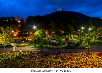 """PYATIGORSK, RUSSIA - JULY 12,2019:View of the night the """"Flower-garden"""" - one of the most beautiful and favorite places of the resort of Pyatigorsk on Northern Caucasus in Russia, founded in 1828."""
