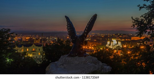 PYATIGORSK, RUSSIA - JULY 18, 2018:Eagle sculpture silhouette against the background of the night of resort Pyatigorsk,Russia.