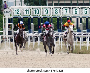"PYATIGORSK, RUSSIA - JULY 18: The race for the prize of the ""Asuan"";The jockey Sherbakov,Levchenko and Smirnov. July 18; 2010 in Pyatigorsk; Caucasus; Russia."
