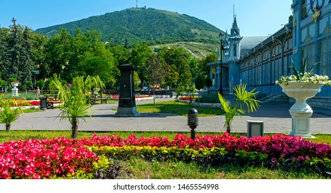 """PYATIGORSK, RUSSIA - JULY 30,2019: Park """"Flower-garden"""" - one of the most beautiful and favorite places of the resort of Pyatigorsk on Northern Caucasus in Russia, founded in 1828."""