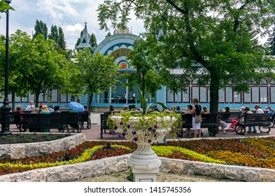 """PYATIGORSK, RUSSIA - JUNE 04,2019: Park """"Flower-garden"""" - one of the most beautiful and favorite places of the resort of Pyatigorsk on Northern Caucasus in Russia, founded in 1828."""