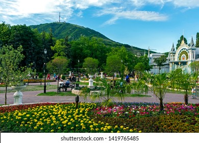 """PYATIGORSK, RUSSIA - JUNE 09,2019: Park """"Flower-garden"""" - one of the most beautiful and favorite places of the resort of Pyatigorsk on Northern Caucasus in Russia, founded in 1828."""