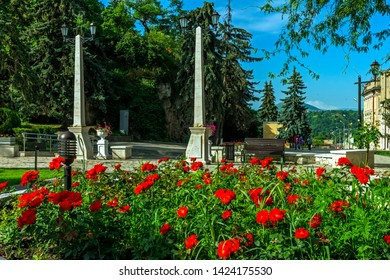 """PYATIGORSK, RUSSIA - JUNE 14,2019: Park """"Flower-garden"""" - one of the most beautiful and favorite places of the resort of Pyatigorsk on Northern Caucasus in Russia, founded in 1828."""