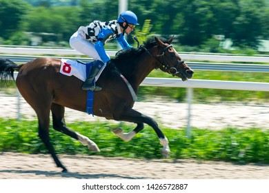 PYATIGORSK, RUSSIA - JUNE 16,2019: Horse race of the traditional prize Gul on Pyatigorsk hippodrome.Ahead master jockey Guseinov Gusein.