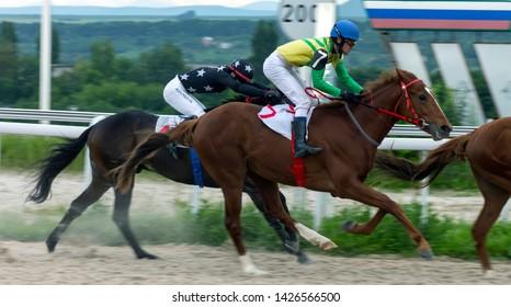 PYATIGORSK, RUSSIA - JUNE 16,2019:Finish horse race on prize Big Summer on  Pyatigorsk hippodrome,Northern Caucasus, Russia.