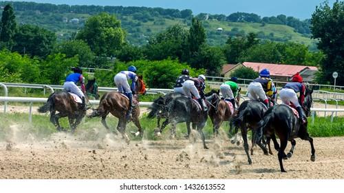 "PYATIGORSK, RUSSIA - JUNE 23,2019: Finish horse race of the traditional  prize 'Avins wude"" on Pyatigorsk hippodrome,Northern Caucasus,Russia."
