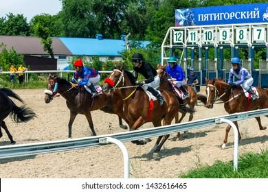 PYATIGORSK, RUSSIA - JUNE 23,2019: Start horse race of the traditional prize Ogranichitelni on Pyatigorsk hippodrome,Northern Caucasus,Russia.