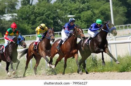 PYATIGORSK, RUSSIA - JUNE 26: Jockeys (L - R) Alik Balagov, Timur Guseinov, Hamid Ulubaev and Imran Pshukov race for the prize of the Ogranichitelni on June 26, 2011 in Pyatigorsk, Caucasus, Russia.