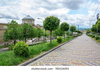 PYATIGORSK, RUSSIA - MAY 19, 2016: View of the street in Pyatigorsk, resort town in  Stavropol region, Russia