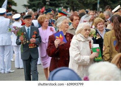 Pyatigorsk, Russia - May 9, 2017: War veterans. Victory Parade in the Great Patriotic War in Pyatigorsk