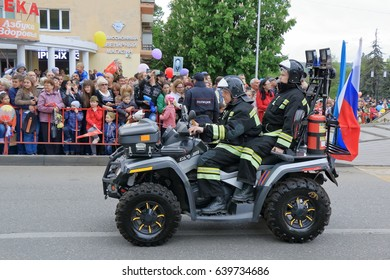 Pyatigorsk, Russia - May 9, 2017: Rescue all-terrain vehicle of garrison of fire protection (Fire Department in Pyatigorsk). Parade in honor of the Victory Day in the Second World War