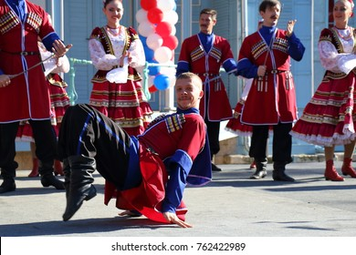 Pyatigorsk, Russia - November 4, 2017: Cossack dance in traditional clothes. Free concert near the Lermontov Gallery in Tsvetnik park in Pyatigorsk. Celebration of National Unity Day in Russia.