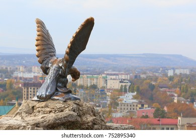 Pyatigorsk, Russia - October 28, 2017: The bronze sculpture of an eagle fighting a snake on a Mashuk mountain. Official symbol of the Caucasian Mineral Waters. This monument was opened in 1901