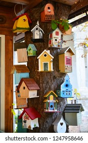 Pyatigorsk, Russia - October 5, 2018: A tree with many colorful birdhouses
