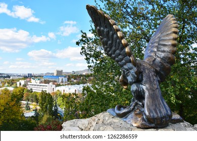 "Pyatigorsk, Russia - October 5, 2018: Sculpture ""Eagle"" in Pyatigorsk on Mount Hot"