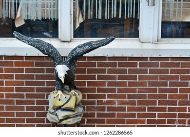 "Pyatigorsk, Russia - October 5, 2018: Sculpture ""Eagle"" on the wall of the restaurant on Mashuk mountain in Pyatigorsk"