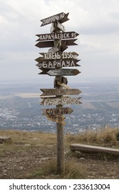 PYATIGORSK, RUSSIA - SEPTEMBER 13: Pointers distances to different cities atop Mount Mashuk on September 13, 2014 in Pyatigorsk.