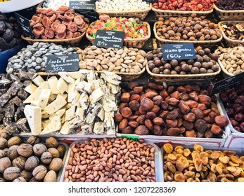 PYATIGORSK, RUSSIA - SEPTEMBER 20, 2018: various nuts, dried fruits and local sweets on market in Pyatigorsk city. Pyatigorsk is resort town in Caucasian Mineral Waters region of Stavropol Krai