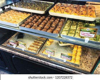 PYATIGORSK, RUSSIA - SEPTEMBER 20, 2018: local sweets in pastry shop in Pyatigorsk city. Pyatigorsk is resort town in Caucasian Mineral Waters region of Stavropol Krai
