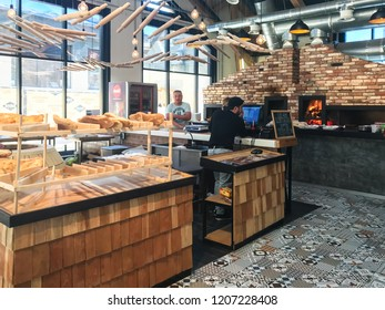 PYATIGORSK, RUSSIA - SEPTEMBER 20, 2018: people in bakery of food court Gastromarket Cuisine of the World in Pyatigorsk. Pyatigorsk is resort town in Caucasian Mineral Waters region of Stavropol Krai