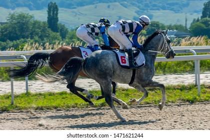 "PYATIGORSK,RUSSIA - AUGUST 04,2019: The finish horse race for the prize of the ""Bolshoi"" of Pyatigorsk hippodrome,Northern Caucasus,Russia."