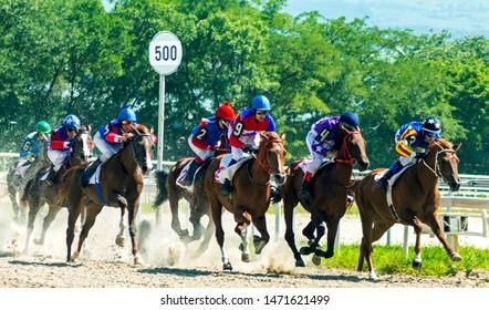 "PYATIGORSK,RUSSIA - AUGUST 04,2019: Horse race for the prize of the ""Prohorova"" of Pyatigorsk hippodrome,Northern Caucasus,Russia."