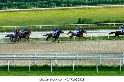 "PYATIGORSK,RUSSIA - AUGUST 04,2019:The race for the prize of the ""Bolshoi rossiski"" of Pyatigorsk hippodrome,Northern Caucasus,Russia."