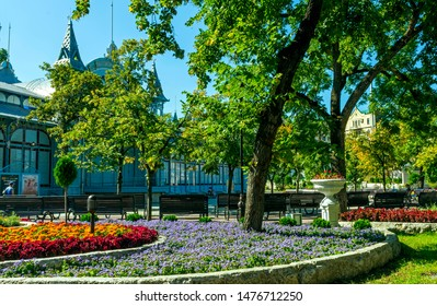 """PYATIGORSK,RUSSIA - AUGUST 12,2019:Park """"Flower-garden"""" - one of the most beautiful and favorite places of the resort of Pyatigorsk on Northern Caucasus in Russia, founded in 1828."""