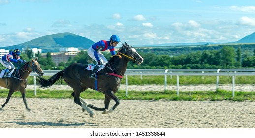 PYATIGORSK,RUSSIA - JULY 14,2019:Finish horse race for the OKS prize Pyatigorsk hippodrome - the oldest and the largest in Russia.The first races on this site took place in June 1885.