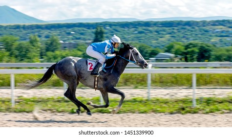 PYATIGORSK,RUSSIA - JULY 14,2019:Finish horse race for the Ogranichitelni prize Pyatigorsk hippodrome - the oldest and the largest in Russia.The first races on this site took place in June 1885.