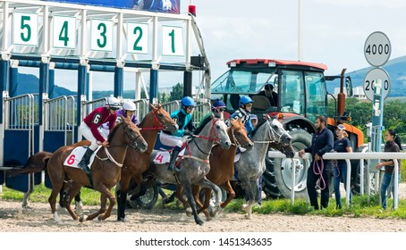 PYATIGORSK,RUSSIA - JULY 14,2019:Start horse race for the Asuana prize Pyatigorsk hippodrome - the oldest and the largest in Russia.The first races on this site took place in June 1885.