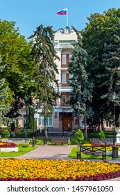 """PYATIGORSK,RUSSIA - JULY 21,2019:Park """"Flower-garden"""" - one of the most beautiful and favorite places of the resort of Pyatigorsk on Northern Caucasus in Russia, founded in 1828."""