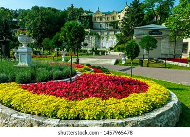 """PYATIGORSK,RUSSIA - JULY 21,2019:Park """"Flower-garden"""" - one of the most beautiful and favorite places of the resort of Pyatigorsk in Russia, founded in 1828.On the building inscription Souvenirs."""