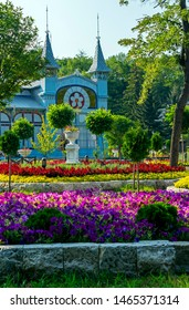 """PYATIGORSK,RUSSIA - JULY 29,2019:Park """"Flower-garden"""" - one of the most beautiful and favorite places of the resort of Pyatigorsk on Northern Caucasus in Russia, founded in 1828."""