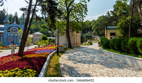 """PYATIGORSK,RUSSIA - JULY 31,2019:Park """"Flower-garden"""" - one of the most beautiful and favorite places of the resort of Pyatigorsk on Northern Caucasus in Russia, founded in 1828."""