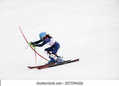 PyeongChang 2018 March 18th . Women's Slalom run 1. Team GB - FITZPATRICK Menna, Guide: KEHOE Jennifer