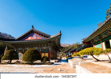 Pyeongchang, gangwon-do, South Korea - Woljeongsa Temple. (Woljeongsa is a head temple of the Jogye Order of Korean Buddhism, located on the eastern slopes of Odaesan in Pyeongchang)