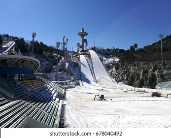 Pyeongchang, SOUTH KOREA - 24 February 2017. Workers are building up the venue for the ski jump for Olympic 2018 winter games.
