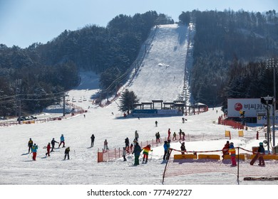 Pyeongchang, South Korea, December  2016, There is the Alpensia ski resort where the 2018 Pyeongchang Winter Olympic games will be held.