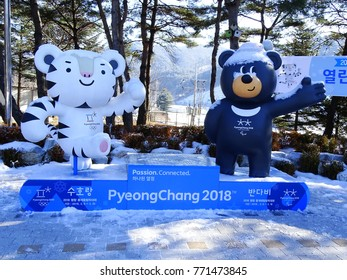 Pyeongchang, South Korea, December 6, 2017, There are 2018 Pyeongchang Winter Olympic Mascots at the Pyeongchang Service Area of Yeongdong Expressway