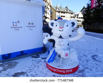 Pyeongchang, South Korea, December 6, 2017, There is a 2018 Pyeongchang Winter Olympic Mascot, Suhorang(tiger), at the Alpensia ski resort.