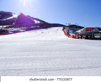 Pyeongchang, South Korea, December 6, 2017, There is the Alpensia ski resort where the 2018 Pyeongchang Winter Olympic games will be held.