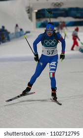 PYEONGCHANG, SOUTH KOREA - FEBRUARY 10, 2018: Dorothea Wierer of Italy competes in biathlon Women's 7.5km Sprint at the 2018 Winter Olympics in Alpensia Biathlon Centre