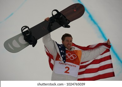 PYEONGCHANG, SOUTH KOREA – FEBRUARY 14, 2018: Olympic champion Shaun White celebrates victory in the men's snowboard halfpipe final at the 2018 Winter Olympics in PyeongChang, South Korea