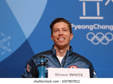 PYEONGCHANG, SOUTH KOREA - FEBRUARY 14, 2018: Olympic champion Shaun White during press conference after his victory in the men's snowboard halfpipe final at the 2018 Winter Olympics