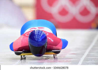 PYEONGCHANG, SOUTH KOREA - FEBRUARY 14, 2018: Vladyslav Heraskevych of Ukraine competes  in the Skeleton Men Official Training Heat at the 2018 Winter Olympics in PyeongChang, South Korea